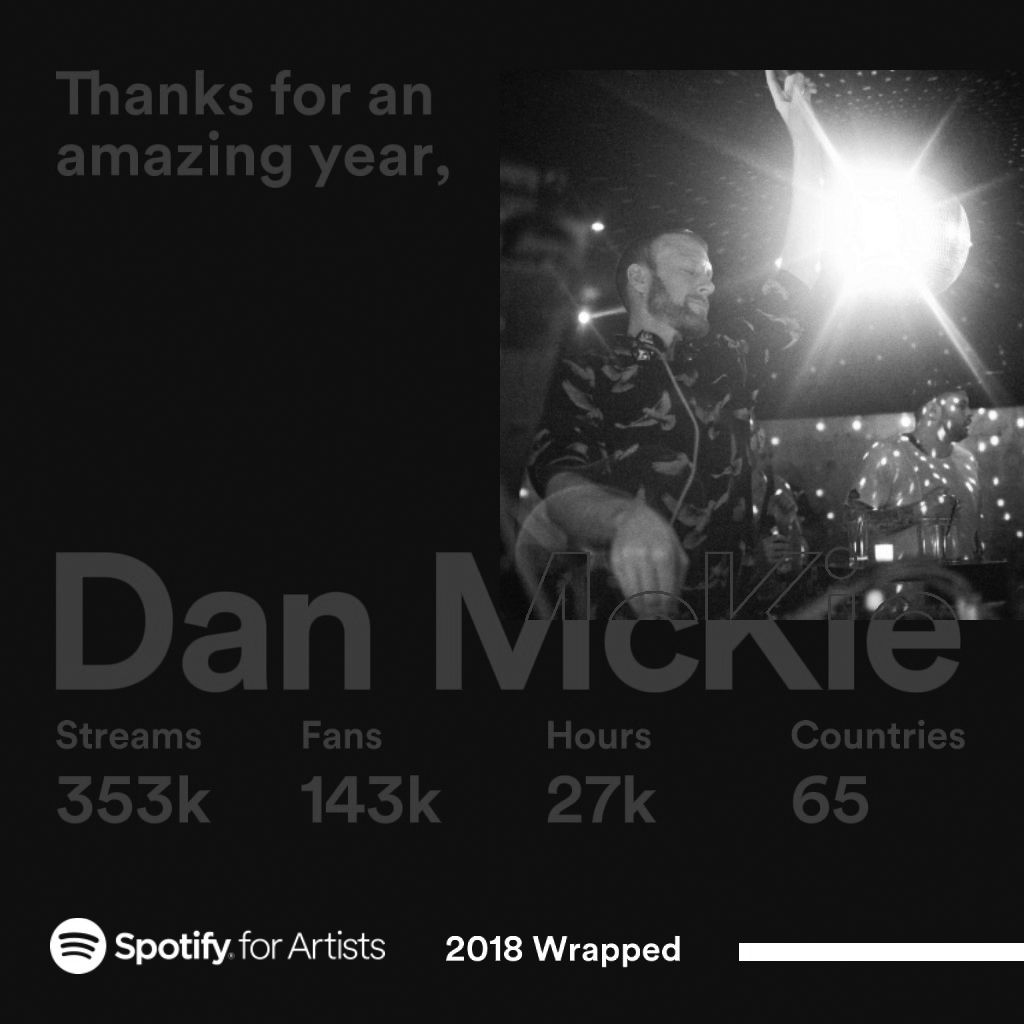 Spotify 353k stream 65 countries Dan McKie 27k hours