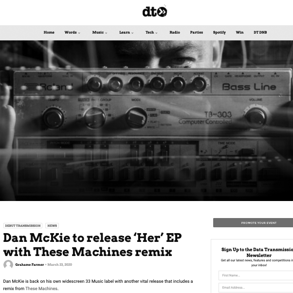 Data Tranmission Premiere Dan McKie - Her (These Machines Remix)